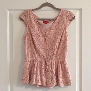 Pink Lace Trumpet Waist Shirt